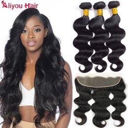 Wholesale 13x4 Body Wave Lace Frontal - Brazilian Virgin Human Hair Weft With Frontal 8A Brazilian Unprocessed Hair Body Wave 13X4 Ear to Ear Lace Closure With 3 Hair Bundles
