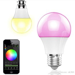 Bombilla inteligente bluetooth online-NUEVO Bluetooth LED Bulbo 4.5W E27 RGBW Bluetooth 4.0 Wireless Smart LED Cambio de color de luz Bombillas regulables IOS / Android APP