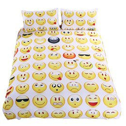 Wholesale twin beds for kids - Emoji Bedding Set Cute Expression Duvet Cover Set Printed Pillow Cases Bed Cover Sheet For Kids 3pcs set 0711058