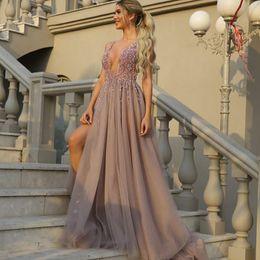 Wholesale Embellish Dresses - Beaded Plunging Neckline Prom Dresses Embellished Beading Left Leg Slit Prom Gowns Tulle Long Evening Dresses