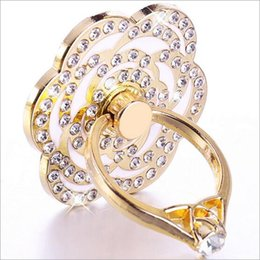 Wholesale Auger Ring - New Mobile Phone ring holder setting auger metal band diamond buckle stickers 360 degree rotation lazy phone frame Rose gold petals stent