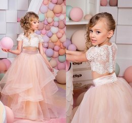 Wholesale Pageant Piece Dresses Girls - 2018 Blush Pink Girls Pageant Dresses Cap Sleeves Lace Ivory Top Tulle Ball Gown Flower Girls Dresses For Weddings Two Piece Style