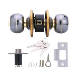 Wholesale Home Handle - Lowest Price Home HF-Q-18 Stainless Steel Brushed Round Ball Privacy Door Knob Set Handle Lock Door Knob Lock 60# Gift Box for Door Bedroom
