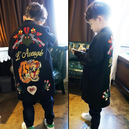 Wholesale Trench Coat Children Boys - 2017 New Fashion embroidery floral tiger boys Autumn Coat Children Trench Coat boy long Coat Children Outwear Novelty Kids Clothing A1096