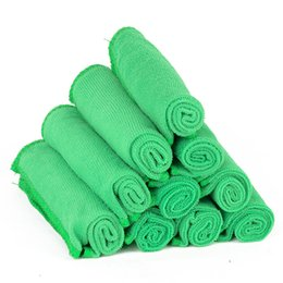 Wholesale Disposable Microfiber Face Towels - 10pcs Green Microfiber Wash Towel Cleaning Towels Home Furniture Car Clean Duster Soft Cloths Free Shipping