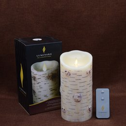 Wholesale Timer Move - Luminara Birch Bark Flameless Moving Wick LED Candle with Battery Operated with Timer for Wedding Hotle Bar Christmas Decor