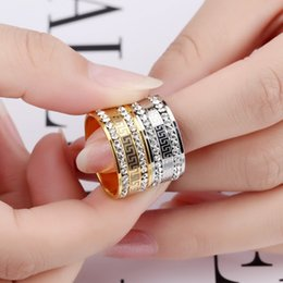 Wholesale High Quality Fashion Jewellery - 9mm men ring High quality Gold color Stainless steel Luxury AAA CZ Great Wall lines Anillos 2017 Europe fashion brand Jewellery