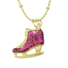 Wholesale Crystal Shoe Pendant - New Fashion Hot Sale Lovely Hotpink Color Ice Skate Shoes Pendant Necklace For Women
