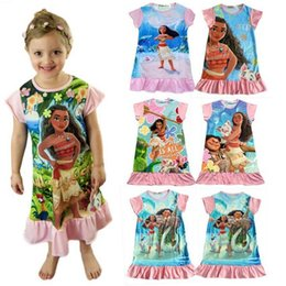 Wholesale Beauty Clothing - New baby girls Trolls Beauty and the beast dress 16 colors cartoon Moana printing Princess dresses Kids Clothing