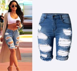 Wholesale Women Elastic Hole Leggings Short Pants Harajuku Style Casual Street Style Blue Denim Shorts Ripped Boyfriend Jeans