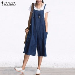 Wholesale Womens Jumpsuits New Arrivals - Wholesale- New Arrival ZANZEA 2016 Autumn Denim Rompers Womens Jumpsuit Sexy Sleeveless Wide Leg Playsuit Calf Length Ovesized Overalls