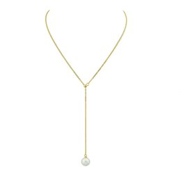 Wholesale Y Pendant - Free Shipping Simple Model Gold Silver Color Chain Y Style Necklace Design Pearl Pendant Necklaces for Women