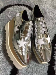 Wholesale Shoes Sneakers Wedge Woman - Italian Brand Stella Shoes McCartney Women Causal Shoes Stars Genuine Leather Platform Wedges Sneakers Shoes 34-40 WITH BOX
