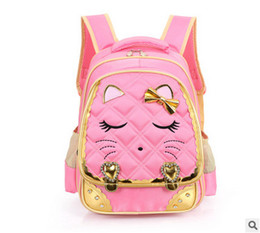 Wholesale Cute Girl Fashion Love - Kids bag fashion girls cute cat school bag children bows love heart double backpacks kids cartoon animal messenger girl gift T4334