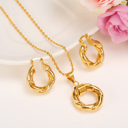 Wholesale Fine Gold 14k Jewelry - Wholesale 2017 New Big Hoop Earrings Pendant Women's wedding Jewelry Sets Real 14k yellow Solid Fine Gold Africa Daily Wear Gift