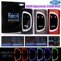 Wholesale Oled Display Color - Authentic Sigelei Kaos Spectrum Box Mod New Color 230W Fit 2*18650 Battery 0.96TFT Big OLed Display 6 Changeable e Cigarettes Vapor Mods DHL