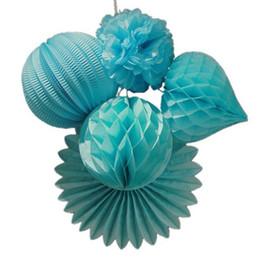 Wholesale Craft Lantern Decoration - Wholesale- 5pc Blue Paper Crafts Party Decoration Set Accordion Lantern  Honeycomb Heart Pom Pom Paper Fan Birthday Wedding Space Decor