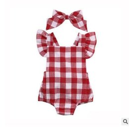 Wholesale Red Baby Onesies - Baby Romper Red Plaid Baby Onesies Newborn Infant Baby Girls Lattice Rompers Jumpsuit Bowknot Brooch Outfit Clothes Newborn Clothes 0-18M