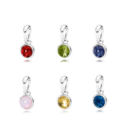 Wholesale Gold Birthstone Jewelry - July to December 6 month 925 Sterling Silver Beads Droplet Birthstone Garnet Charms Fits European Pandora Style Jewelry Bracelets 390396