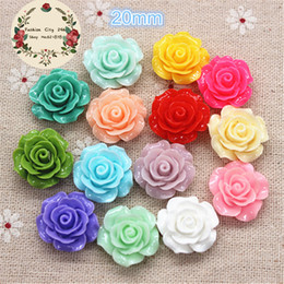 Wholesale Wealth Flower - 50pcs 20mm Resin Camellia Flower Flatback Cabochon DIY Scrapbooking Decorative Craft Making,15 Colors to Choose