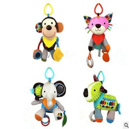 Wholesale Large Doll Hands - Wholesale- Large size 30cm Baby Girl Boy toys Multi-functional Bed bell&Hand ringing with Teether Lovely Plush animal dolls pendant