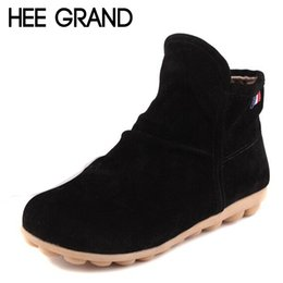 Wholesale Resistance Shoes - HEE GRAND New Arrival Autumn Women Fashion Ankle Boots,Comfortable Flat With Round Toe Slip-on Skid Resistance Flock Shoes 799