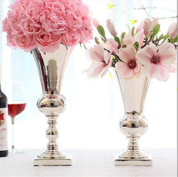 Wholesale Large Flower Vases Wholesale - large diamete tabletop metal vase Decorative Flowers tall vases for wedding metal flower vases silver wedding vases