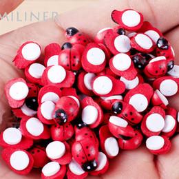 Wholesale Craft Ceramics - Wholesale- 100Pcs Painted Ladybug Self Adhesive Wood Craft Fridge Paste Cabochon Scrapbooking Decoration 8x11mm