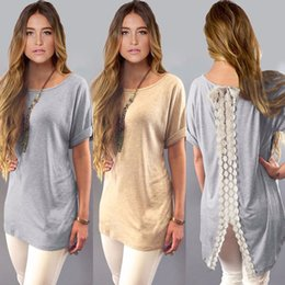 Wholesale Ladies Plus Tops - Wholesale-Hot Sale Summer Ladies Womens Casual Shirt Plain Simple Design Short Sleeve Lace Back Loose T-Shirt Tees Slim Tops Plus Size