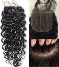 Wholesale Indian Curly Silk Base Closure - 8A Brazilian Silk Base Closure Deep Wave curly kinky Human Hair 4x4 Silk Closure Bleached Knot Free Middle 3 Part Silk Base Closure Top Lace