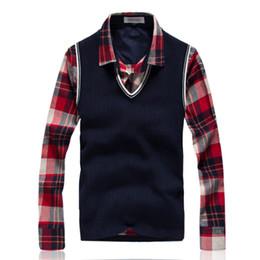 Wholesale Men S Pullover Sweater Vests - Wholesale- 2016 fashion Winter Warm brand Sweater Men V-neck vest sweater sweater Men Pullover hot sale