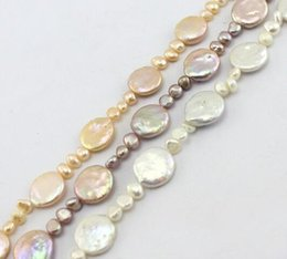 """Wholesale 14mm Freshwater Pearls - New natural beautiful Jewelry Free Shipping Jewelry DIY Making 14mm Coin Pearl &6-7mm Freeform Freshwater Pearl Beads Strand 15"""""""