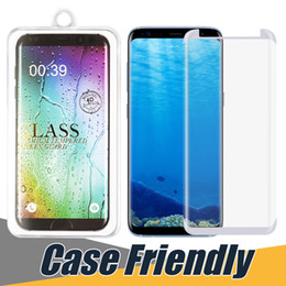 Wholesale note casing - Case friendly Glass For Samsung S9 Plus Full Curved Protector Film Adhesive Edge Tempered Glass For Samsung S8 S7 Edge Note 8 with Box