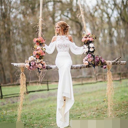 Wholesale Lace Chiffon Casual - Hot Sale Sheath Wedding Dress 2017 Summer New Casual Garden Sweep Train Modern Chiffon Applique Long Bridal Gown Custom Made Full Sleeve Top