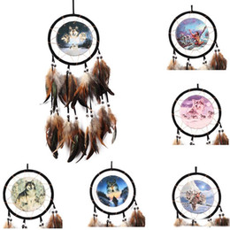 Wholesale Vintage Car Oil - Vintage Handmade Dreamcatcher Oil Painting Totem Wolf Dream Catcher with Feather Wind Chimes Car Wall Hanging Home Decor Ornament