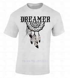 Wholesale native american fashions - 2017 Men T Shirt Fashion Dreamer Dream Catcher T-SHIRT Native American Spirit Feathers Ethnic Gift Shirt