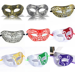 Wholesale Masquerade Mask Knight - Masquerade Masks Halloween Christmas Fancy Dress Plastic Half Face Party Mask Knight Prince Masks Mardi Gras Gifts HH7-135