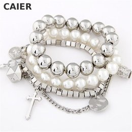 Wholesale Vintage Pearl Clasps Wholesale - Wholesale-Vintage Cross Key Metal Imitation Pearl Bracelets & Bangles Multilayer Beads Silver Plated Bangle Girl Jewelry Women Accessories