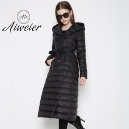 Wholesale Womens Long Down Hooded Parkas - [Aiweier]2017 Autumn Winter Long Woman Down Jackets Parkas Vests Linght Hooded Thin Belt Solid Womens Down With Fur Coats HXD032