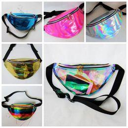 Wholesale Fanny Waist Packs - 32*16cm Hot Sale Waist Pack Unisex Metallic Silver Fanny Waist Bag Chest Pack Sparkle Festival Hologram Bag Waist Bag CCA7015 50pcs
