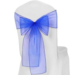 Wholesale Wedding Chair Sashes Royal Blue - Nice Hotel Chair Cover Wedding Style Flowers decoration Royal Blue Organza Chair Cover Sashes for Wedding Hall Room