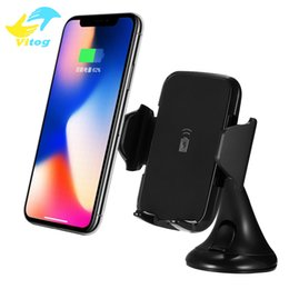 Wholesale Galaxy Docking - For Iphone X Fast Wireless Charger Car Mount Vehicle Quick Qi Wireless Charging Dock for Samsung Galaxy s7 edge s8 plus note8 with package