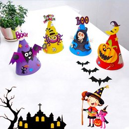 Wholesale Toy Bats Halloween - Halloween Paper Cartoon Caps Child Halloween Ornament Hats Cute Pumpkin Bat Witch Spider Hats for Kids Party Toys