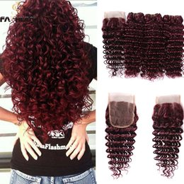 Wholesale weave front closure - Burgundy Brazilian deep wave baby hair extensions lace front closure dark wine red deep high qualtiy human hair weaves closure with bundles