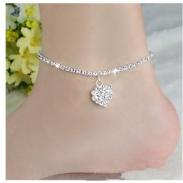 Wholesale Ankle Toe Jewelry - Wholesale Simple Anklet Crystal Rhinestone Love Heart Pendant Toe Ankle Bracelet Chain Link Foot Jewelry For Women Drop Shipping