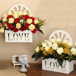 Wholesale Decorative Wall Baskets - 1 Set Rose Wall Mounted 26.5cm Height Love Basket Artificial Flowers Wedding Home Shop Decorative Fake Flower 20 Color