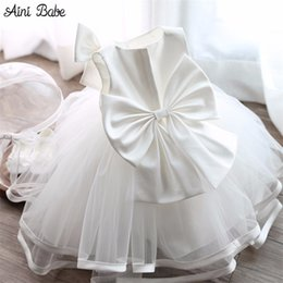 Wholesale Big Dresses For Girls - Wholesale- Lush Baby Boutique Dresses Clothing Princess Toddler Girl 1 Year Birthday Party Dress Big Bow Tutu Kids Tulle Dresses For Girls