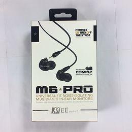 Wholesale Detachable Headphones - M6 PRO Noise Canceling 3.5mm HiFi In-Ear Monitors Earphones with Detachable Cables Sports Wired Headphones 2 Colors DHL Free