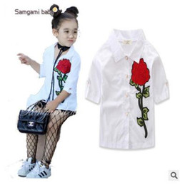 Wholesale Wholesale White Button Down Shirts - Girls Rose Embroidery Shirts Clothes Infant Toddler Baby Half Sleeve Trun-down Collar Button White Cotton Shirts Girls Boutique Clothing