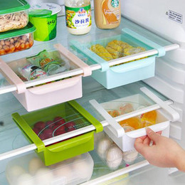 Wholesale Pc Refrigerator - 4 Pcs lot Plastic Kitchen Refrigerator Storage Rack Fridge Freezer Shelf Holder Pull-out Drawer Organiser Space saver